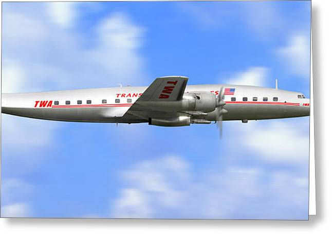 In Flight Greeting Cards - TWA Constellation Airliner Greeting Card by Mike McGlothlen