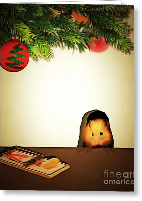 Mice Digital Art Greeting Cards - Twas The Night Before Christmas 20140919brunaille Greeting Card by Wingsdomain Art and Photography