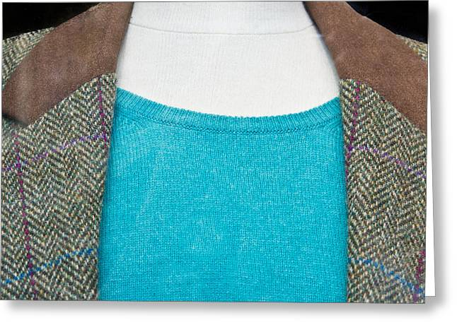 Aqua Blue Greeting Cards - Tweed jacket Greeting Card by Tom Gowanlock