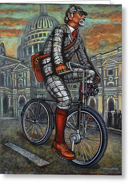 Mark Howard Jones Greeting Cards - Tweed Run in grey passing St Pauls London  Greeting Card by Mark Howard Jones