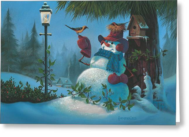 Snowman Christmas Card Greeting Cards - Tweet Dreams Greeting Card by Michael Humphries