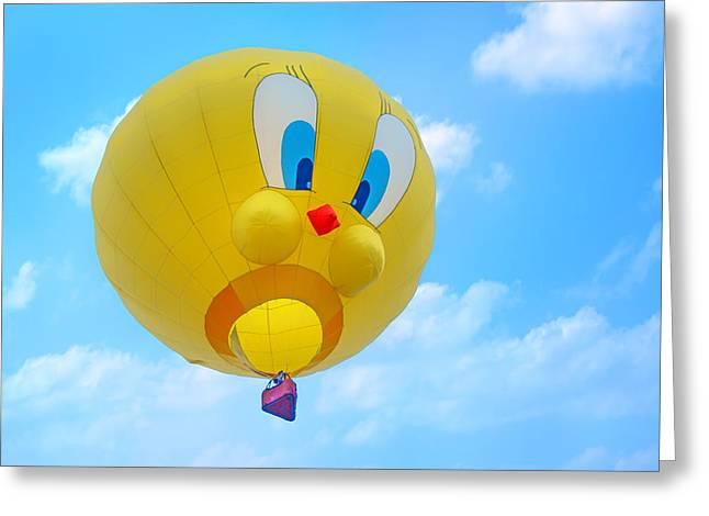 Canary In Flight Greeting Cards - Tweety Bird - Hot Air Balloon Greeting Card by Nikolyn McDonald