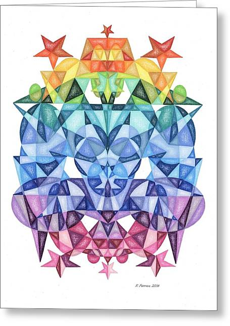 Sacred Drawings Greeting Cards - Twelfth Dimensional Guide Fourth Octave Matrix Greeting Card by Ruthie Ferrone