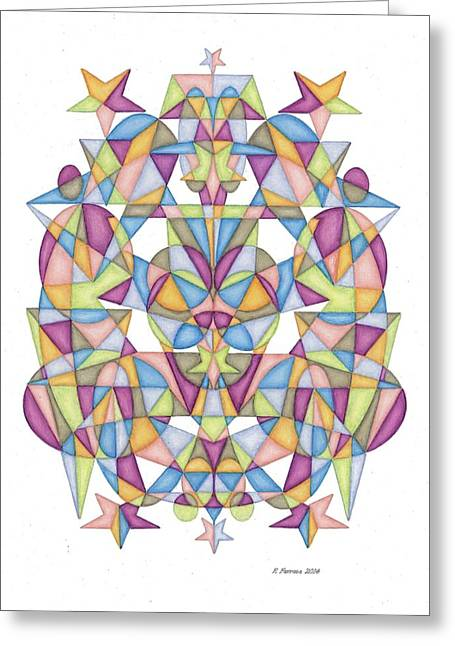 Sacred Drawings Greeting Cards - Twelfth Dimensional Guide Second Octave Matrix Greeting Card by Ruthie Ferrone
