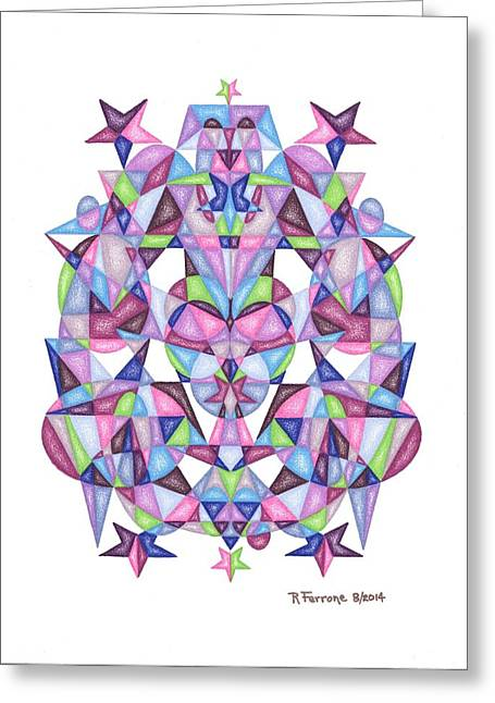 Sacred Drawings Greeting Cards - Twelfth Dimensional Guide Third Octave Matrix Greeting Card by Ruthie Ferrone