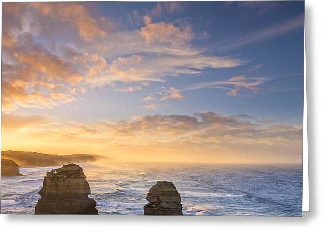 Stack Greeting Cards - Twelve Apostles Sunrise Great Ocean Road Victoria Australia Greeting Card by Colin and Linda McKie