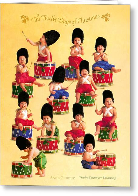 Drummer Greeting Cards - Twelve Drummers Drumming Greeting Card by Anne Geddes