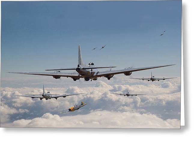 Fighters Greeting Cards - Twelve oclock high Greeting Card by Pat Speirs