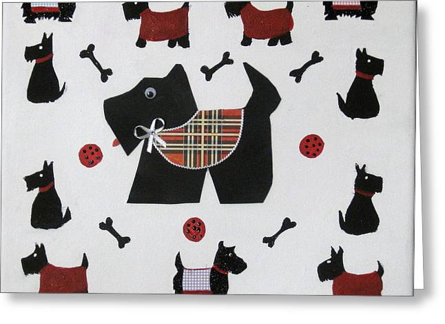 Susan Mclean Gray Greeting Cards - Twelve Scotties Greeting Card by Susan McLean Gray