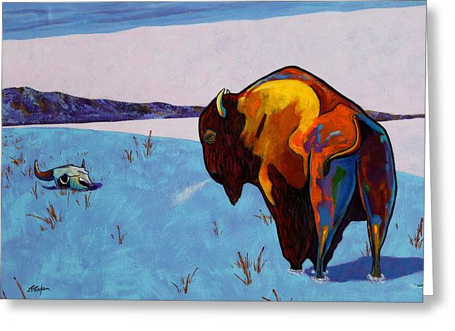 The American Buffalo Paintings Greeting Cards - Twenty Below Bison Greeting Card by Joe  Triano