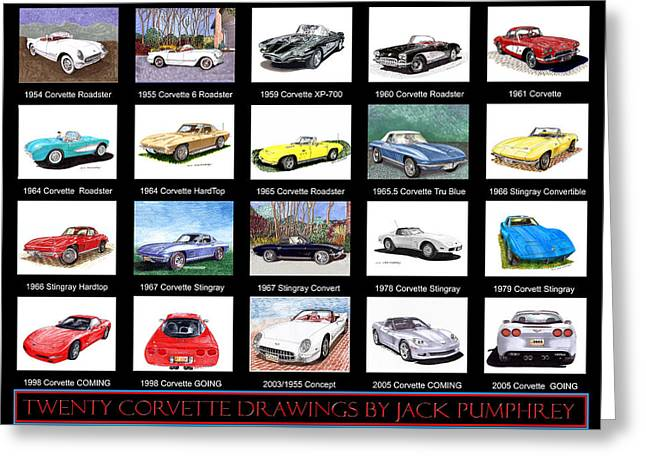 Produce Mixed Media Greeting Cards - Twenty Corvettes Greeting Card by Jack Pumphrey