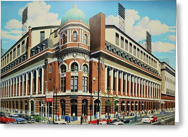 Baseball Stadiums Paintings Greeting Cards - Twenty-First and Lehigh Greeting Card by Thomas  Kolendra