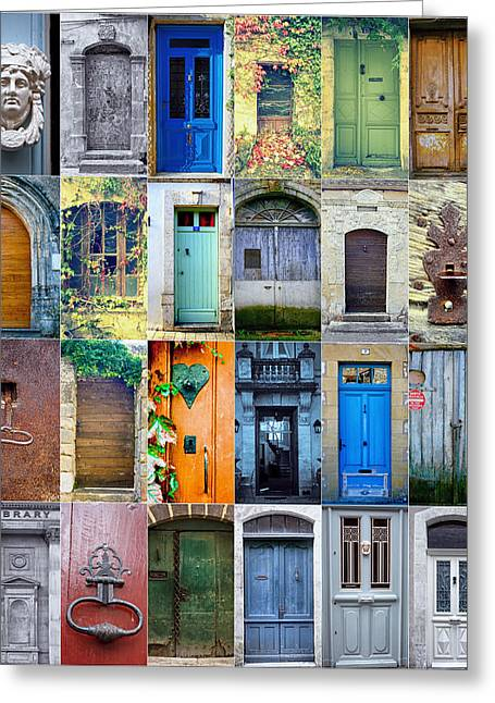 Twenty-four Greeting Cards - Twenty Four French Doors Collage Greeting Card by Georgia Fowler