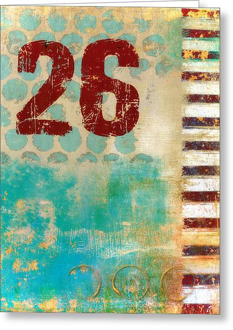 Numbers Greeting Cards - Twenty-Six Stripes Greeting Card by Carol Leigh