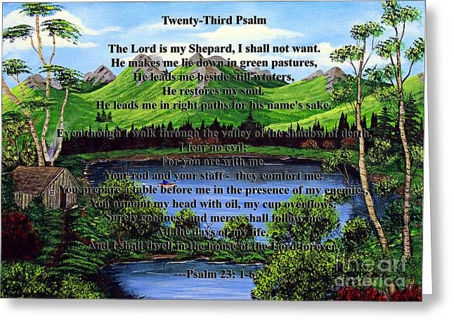 Not Want Greeting Cards - Twenty-Third Psalm and Twin Ponds Greeting Card by Barbara Griffin