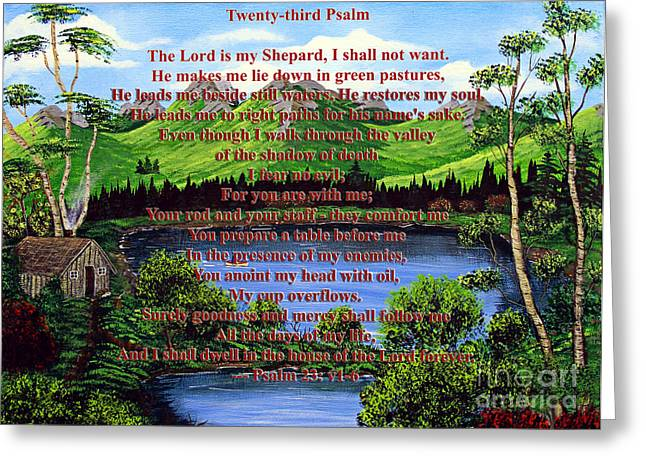Not Want Greeting Cards - Twenty-Third Psalm  Greeting Card by Barbara Griffin