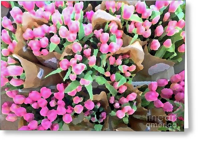 Twenty Two Tulips Greeting Card by Cadence Spalding