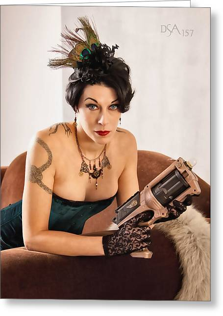 Steampunk Photographs Greeting Cards - Twig with Raygun Greeting Card by David April