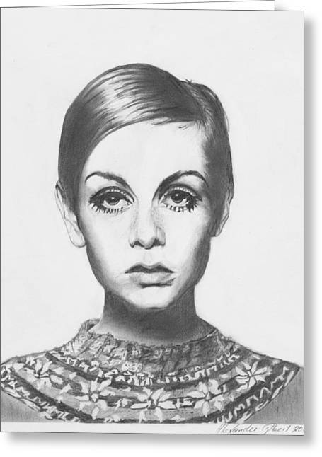 Twiggy Portrait Greeting Cards - Twiggy - Pencil Greeting Card by Alexander Gilbert