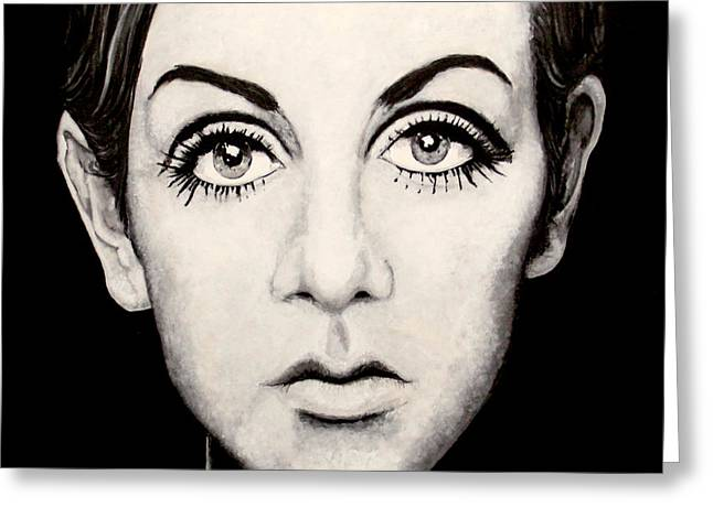 Twiggy Paintings Greeting Cards - Twiggy Greeting Card by Austin Angelozzi