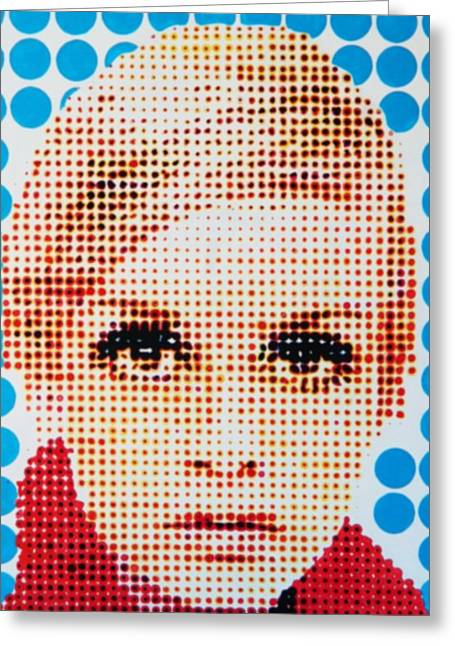 Best Sellers -  - Twiggy Greeting Cards - Twiggy Blue dot  Greeting Card by Grant  Swinney