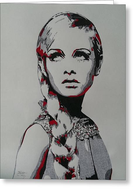 Twiggy Drawings Greeting Cards - Twiggy Greeting Card by Kevin Wood