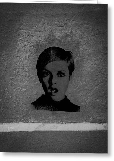 Twiggy Photographs Greeting Cards - Twiggy Street Art Greeting Card by Louis Maistros