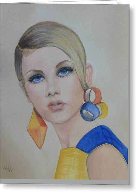 Twiggy Paintings Greeting Cards - Twiggy the 60s Fashion Icon Greeting Card by Kelly Mills