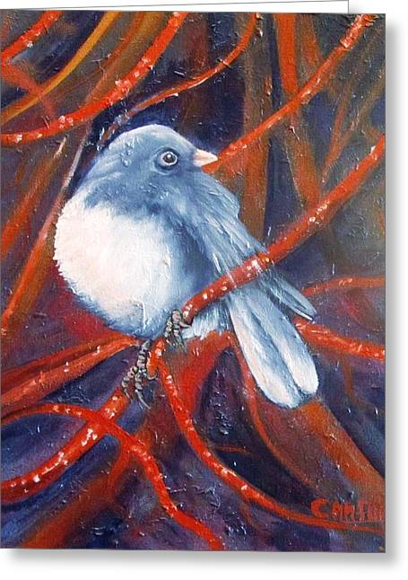 Twitters And Twigs Greeting Card by Carol Allen Anfinsen