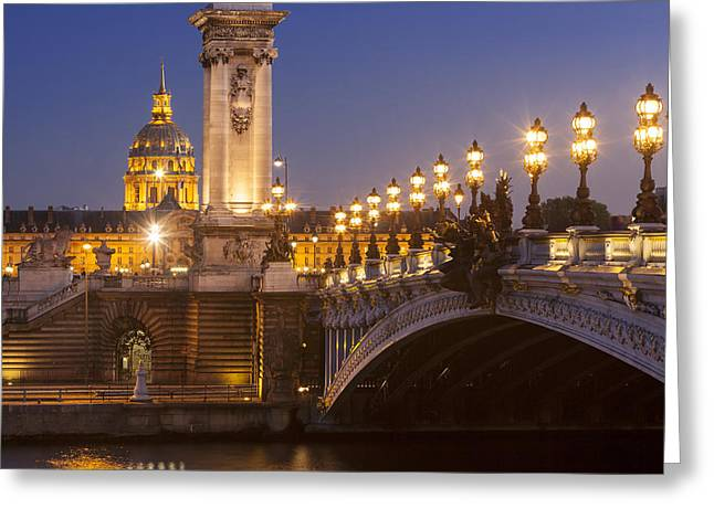 Streetlight Greeting Cards - Twilight - Pont Alexandre III Greeting Card by Brian Jannsen
