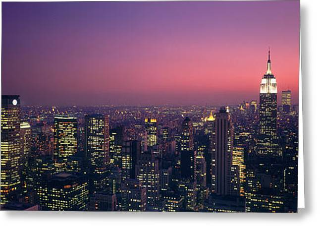 Nyc Rooftop Greeting Cards - Twilight, Aerial, Nyc, New York City Greeting Card by Panoramic Images