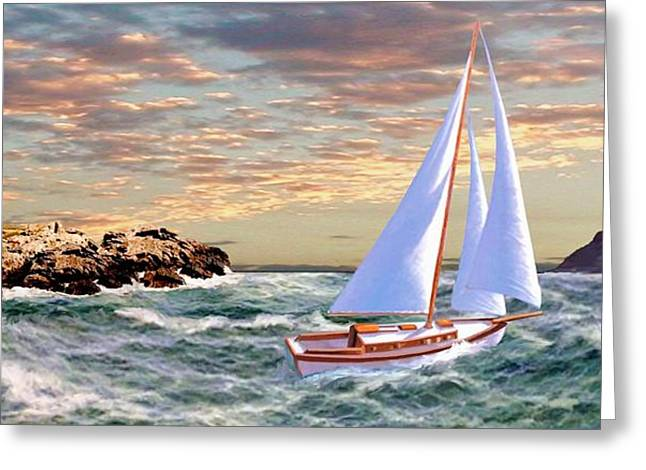 Seascape With A Boat Greeting Cards - Twilight at Portland II Greeting Card by Ronald Chambers