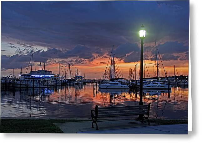 Boats At Dock Greeting Cards - Twilight at Regatta Point Greeting Card by HH Photography of Florida