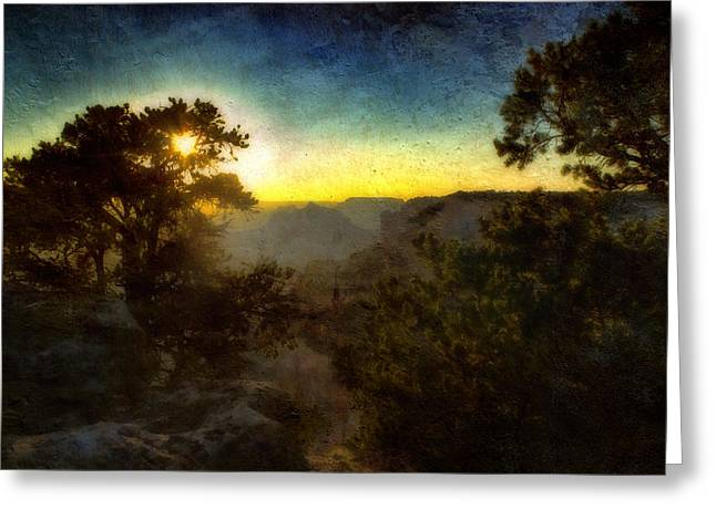 Twilight At The Canyon Greeting Card by Ellen Heaverlo
