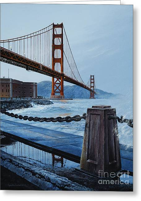 Twilight At The Golden Gate Greeting Card by Lynette Cook