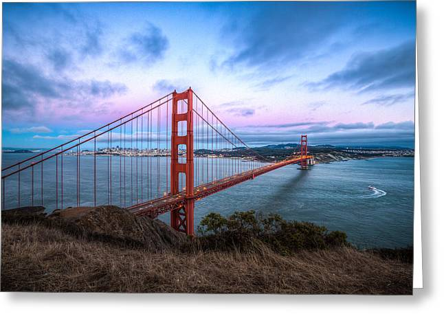 Marin County Greeting Cards - Twilight at the Golden Gate Greeting Card by Mike Lee