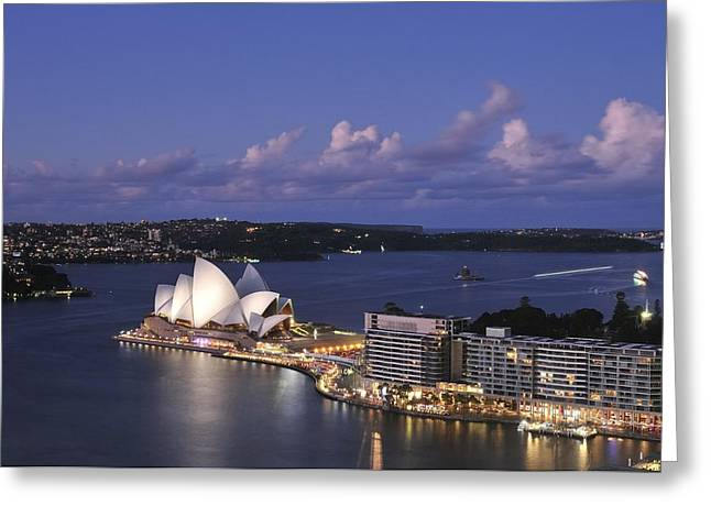 Forecourt Greeting Cards - Twilight at the Opera House and Sydney Harbour Greeting Card by Photography  By Sai