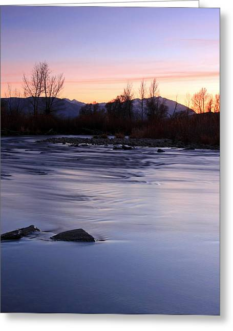 Evening Scenes Greeting Cards - Twilight at the Provo River Greeting Card by Johnny Adolphson
