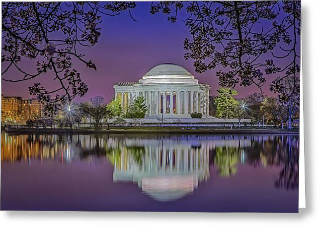 Jefferson Memorial Greeting Cards - Twilight At The Thomas Jefferson Memorial  Greeting Card by Susan Candelario