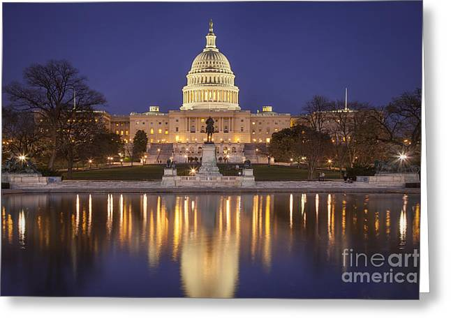 Us Capitol Greeting Cards - Twilight at US Capitol Greeting Card by Brian Jannsen