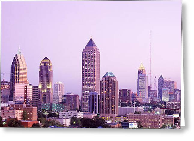 Headlight Greeting Cards - Twilight, Atlanta, Georgia, Usa Greeting Card by Panoramic Images