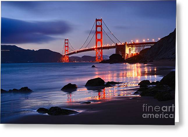 Bridges Greeting Cards - Twilight - Beautiful sunset view of the Golden Gate bridge from Marshalls Beach. Greeting Card by Jamie Pham