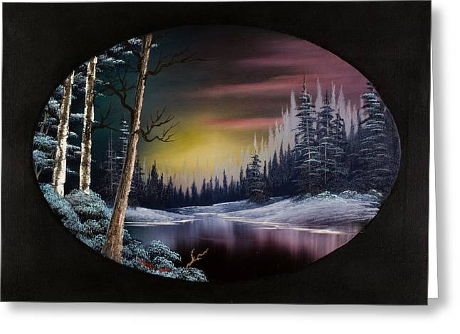 Bob Ross Paintings Greeting Cards - Nightfalls Approach Greeting Card by C Steele