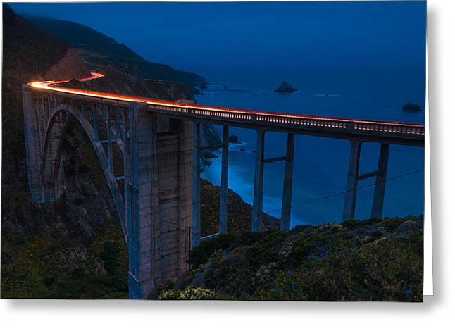 Bixby Bridge Greeting Cards - Twilight Bixby Canyon Bridge Greeting Card by TM Schultze