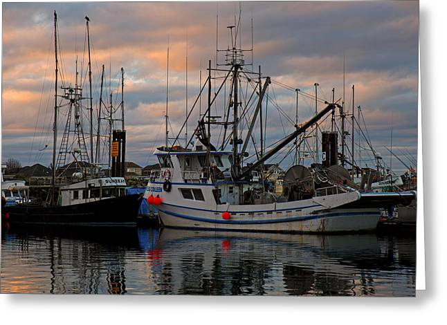 French Creek Marina Greeting Cards - Twilight Boats Greeting Card by Randy Hall