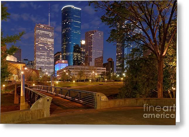 Long Street Greeting Cards - Twilight Breaking Dusk Houston Skyline Greeting Card by Silvio Ligutti