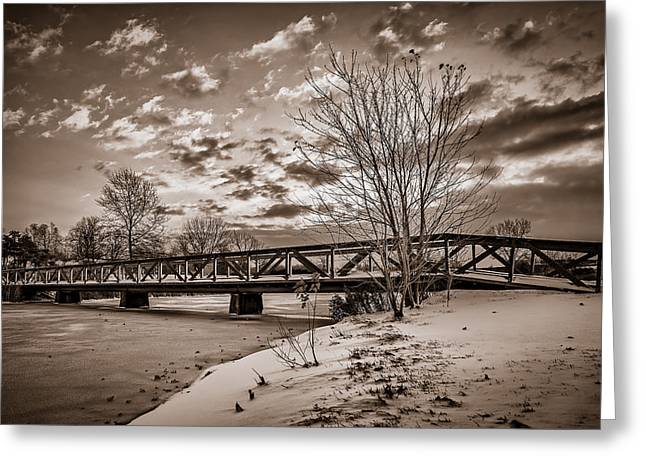 Winter Scenes Rural Scenes Greeting Cards - Twilight Bridge over an icy pond - BW Greeting Card by Chris Bordeleau