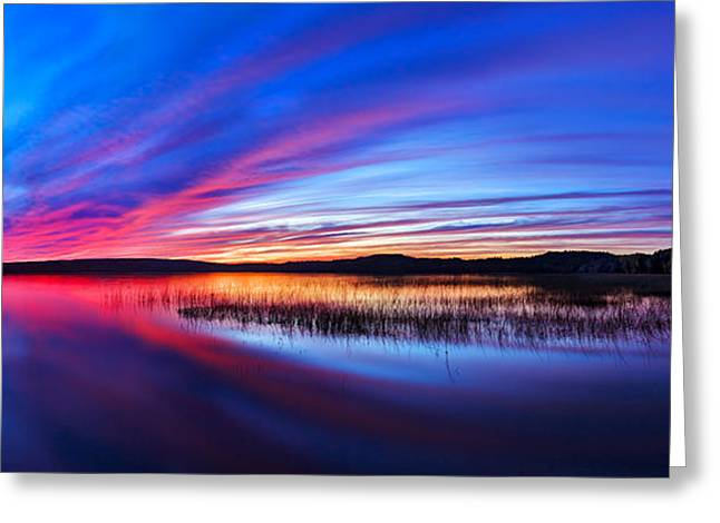 Maine Landscape Greeting Cards - Twilight Burn Panorama Greeting Card by Bill Caldwell -        ABeautifulSky Photography