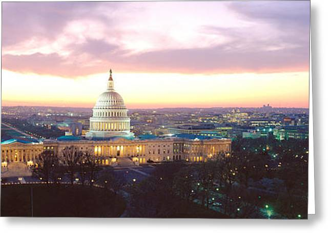Raining Down Greeting Cards - Twilight, Capitol Building, Washington Greeting Card by Panoramic Images
