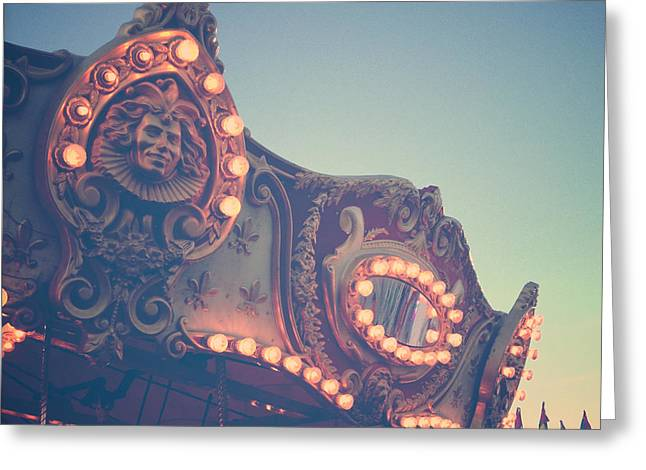 Joy Stclaire Greeting Cards - Twilight Carnival Ride Greeting Card by Joy StClaire